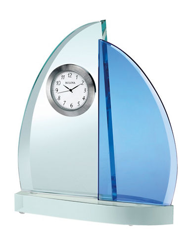 Bulova Sailboat Glass Table and Mantel Clock-BLUE-One Size