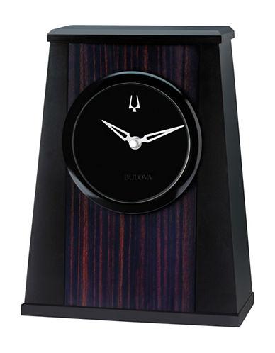 Bulova Oblique Aluminum Wood Tabletop Clock-ESPRESSO-One Size