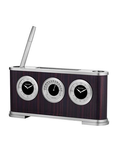 Bulova Woodside Wood Veneer Two Face Desk Clock-ESPRESSO-One Size