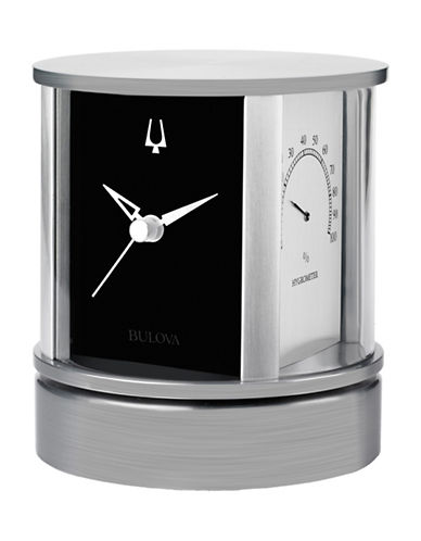 Bulova President Rotating Multi-Purpose Desk Clock-SILVER-One Size