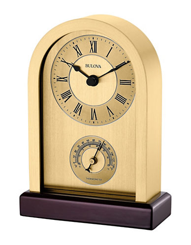 Bulova Harding Brass Finish Arch Desk Clock-GOLD-One Size