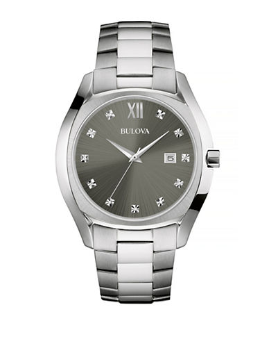 Bulova Diamond Brushed Stainless Steel Link Bracelet Watch-WHITE-One Size