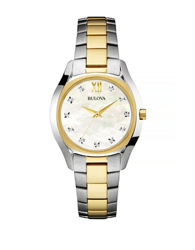 Bulova Diamond and Mother-of-Pearl Two-Tone Stainless Steel Link Bracelet Watch-TWO TONE-One Size