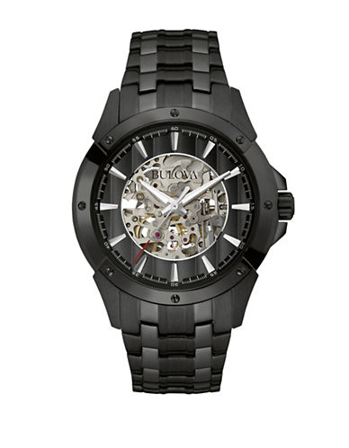 Bulova Analog Automatic Collection Stainless Steel Watch-BLACK-One Size