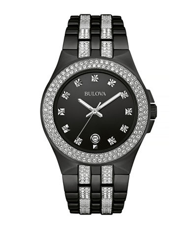 Bulova Crystal Gunmetal Stainless Steel Watch-BLACK-One Size