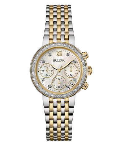 Bulova Diamond Collection Chronograph Two-Tone Bracelet Watch with 0.14 TCW Diamonds-SILVER/GOLD-One Size
