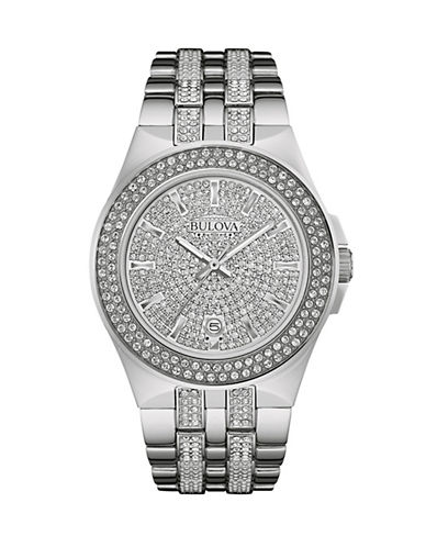 Bulova Pave Crystal and Stainless Steel Analog Watch-SILVER-One Size