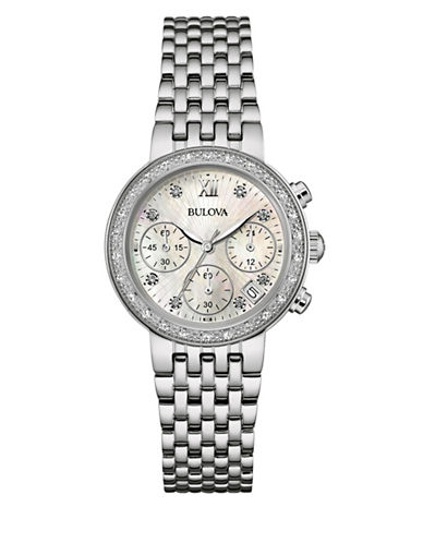 Bulova Chronograph Diamond Collection Stainless Steel Watch-SILVER-One Size