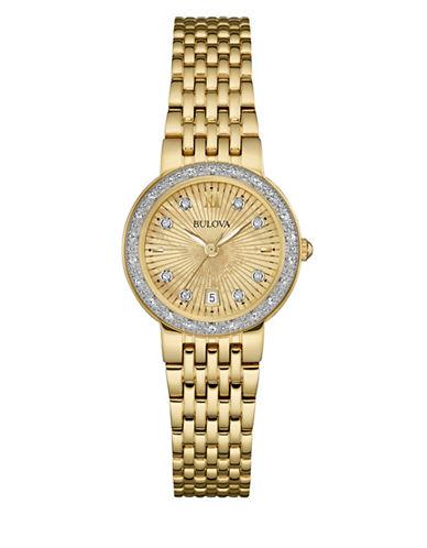 Bulova Analog Diamond Collection Goldtone Bracelet Watch with 0.14 TCW Diamonds-GOLD-One Size