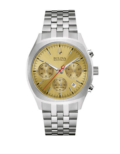 Bulova Chronograph BA 2 Bulova Accutron II Surveyor Collection Stainless Steel Watch-SILVER-One Size