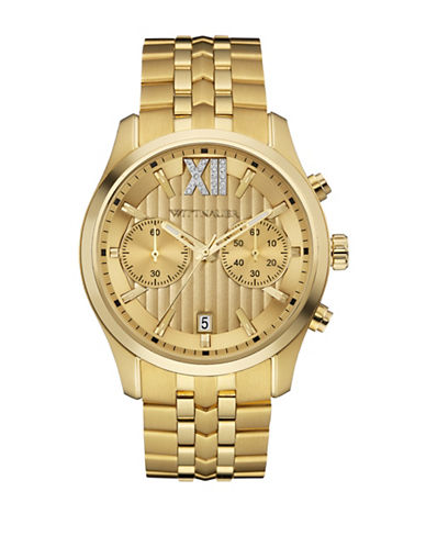 Wittnauer Chronograph Crystal Goldtone Bracelet Watch-GOLD-One Size