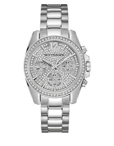 Wittnauer Chronograph Pavé Silvertone Watch-SILVER-One Size