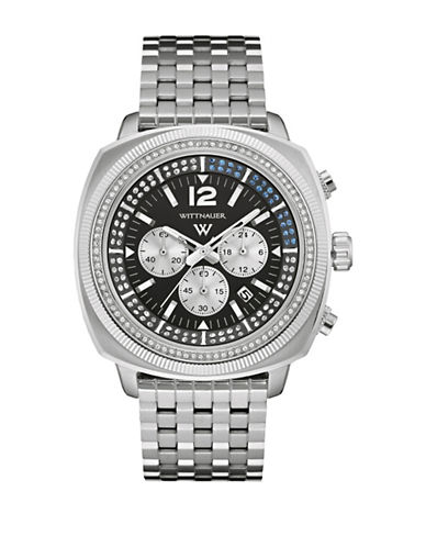 Wittnauer Crystal Chronograph Stainless Steel Bracelet Watch-SILVER-One Size