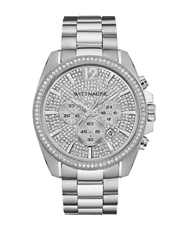 Wittnauer Chronograph Pave Crystal Stainless Steel Bracelet Watch-SILVER-One Size