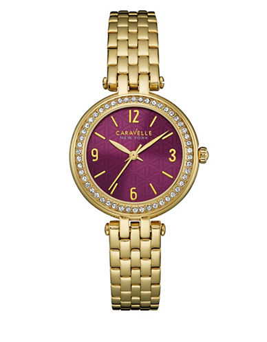 Caravelle New York Three-Hand Sweep Analog The Gold Collection Stainless Steel Bracelet Watch-GOLD-One Size