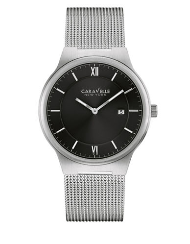 Caravelle New York The Dress Collection Two-Hand Mesh Bracelet Calendar Watch-SILVER-One Size