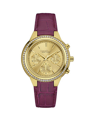 Caravelle New York Chronograph The Boyfriend Collection Leather Strap Watch-PURPLE-One Size
