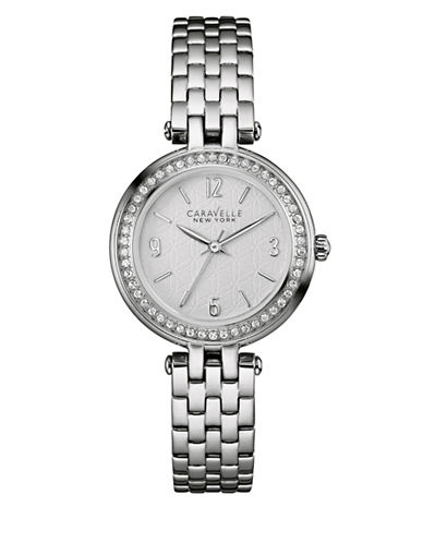 Caravelle New York The Dress Collection Silvertone Three-Hand Sweep Analog Bracelet Watch-SILVER-One Size