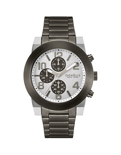 Caravelle New York Chronograph The Sports Chrono Collection Gunmetal Stainless Steel Bracelet Watch-GUNMETAL-One Size