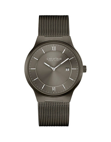 Caravelle New York The Dress Collection Two-Hand Analog Stainless Steel Mesh Bracelet Watch-GUNMETAL-One Size