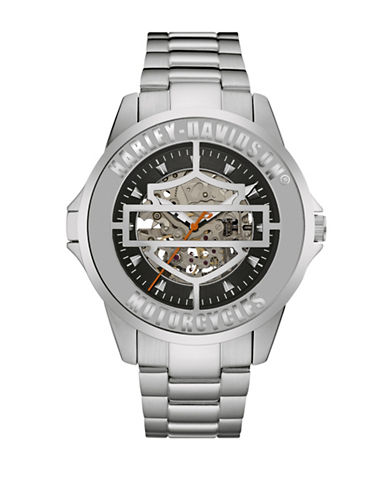 Harley Davidson Mechanical The Cover Watch Collection Bracelet Watch-SILVER-One Size