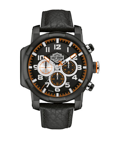 Harley Davidson Analog Chronograph Piston Case Collection Leather Strap Watch-BLACK-One Size