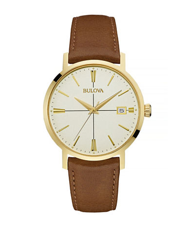 Bulova Classic Goldtone Stainless Steel Leather Watch-BROWN-One Size