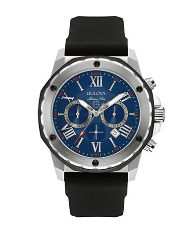 Bulova Chronograph Stainless Steel Strap Watch-BLACK-One Size