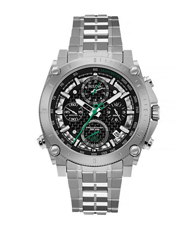 Bulova Precisionist Stainless Steel Chronograph Watch-SILVER-One Size