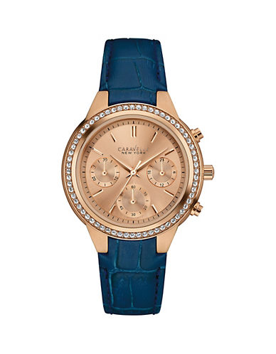 Caravelle New York Chronograph The Boyfriend Collection Leather Strap Watch-BLUE-One Size