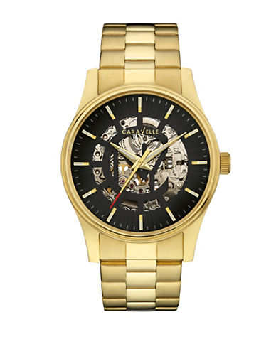 Caravelle New York Analog Automatic Collection Goldtone Stainless Steel Watch-GOLD-One Size
