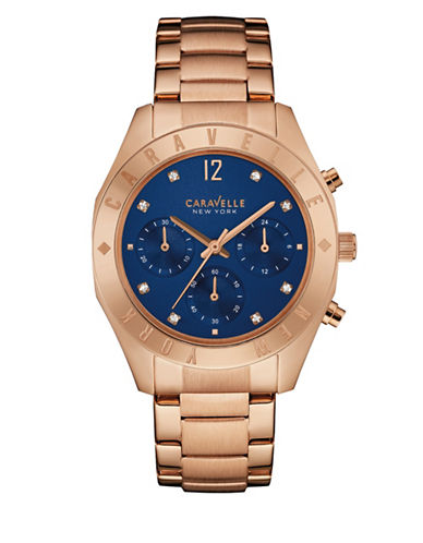Caravelle New York The Boyfriend Collection Chronograph Rose Goldtone Bracelet Watch-ROSE GOLD-One Size