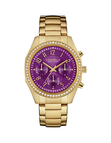 Caravelle New York Chronograph the Boyfriend Collection Goldtone Pave Bracelet Watch-GOLD-One Size