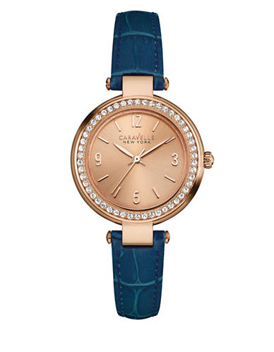 Caravelle New York Three-Hand Sweep Analog The Rose Gold Collection Leather Strap Watch-BLUE-One Size