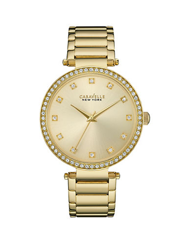 Caravelle New York Analog Pave Marker Goldtone Bracelet Watch-GOLD-One Size