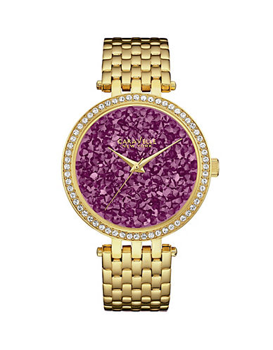 Caravelle New York Three-Hand Sweep Analog the Crystal Collection Goldtone Bracelet Watch-GOLD-One Size