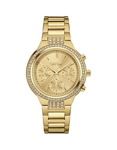 Caravelle New York Chronograph The Boyfriend Collection Stainless Steel Bracelet Watch-GOLD-One Size