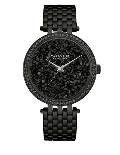 Caravelle New York The Crystal Collection Three-Hand Sweep Analog Black Stainless Steel Bracelet Watch-BLACK-One Size