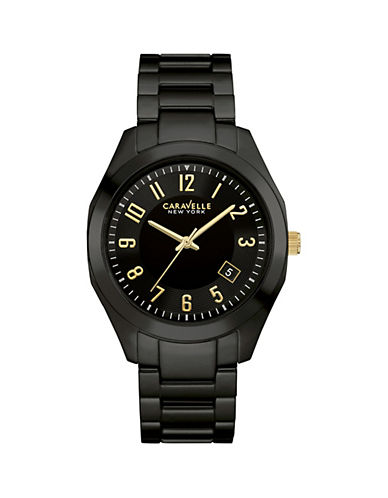 Caravelle New York Analog Gunmetal-Tone Ceramic Bracelet Watch-BLACK-One Size