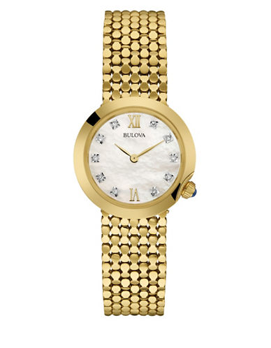 Bulova Analog Diamond Collection Stainless Steel Watch-GOLD-One Size