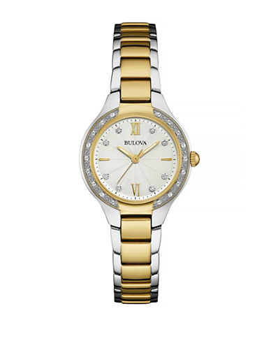 Bulova Pave Diamond Two-Tone Stainless Steel Link Bracelet Watch-TWO TONE-One Size