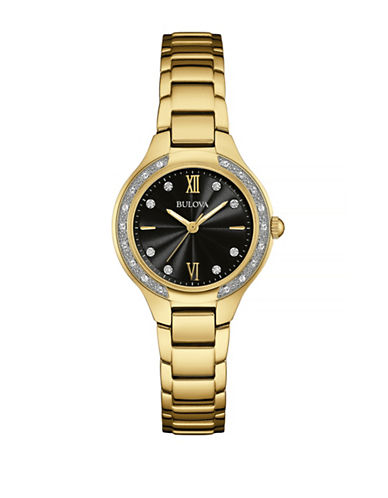 Bulova Pave Diamond Goldtone Stainless Steel Link Bracelet Watch-GOLD-One Size