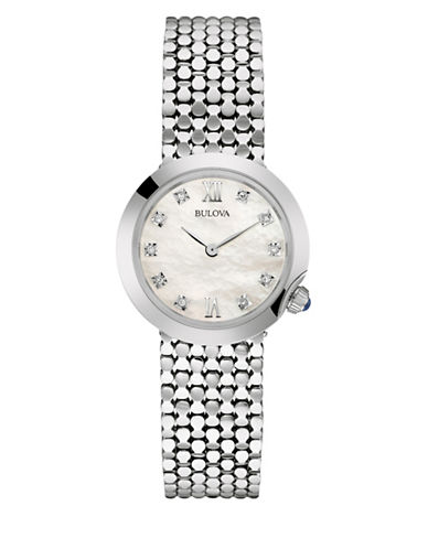 Bulova 0.03TCW Diamond Collection Analog Stainless Steel Bracelet Watch-SILVER-One Size