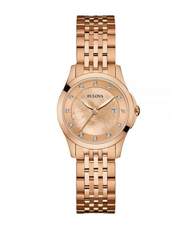 Bulova Diamond Rose-Goldtone Stainless Steel Watch-ROSE GOLD-One Size