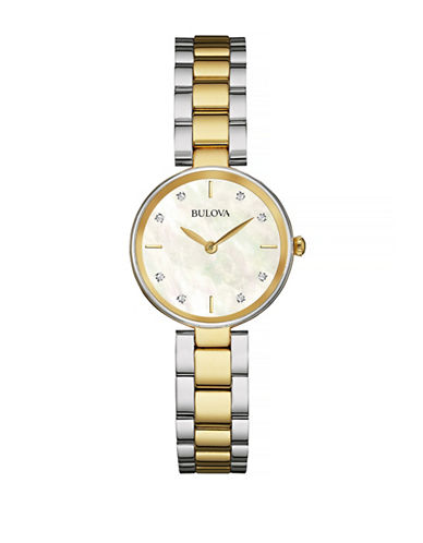 Bulova Diamond and Mother-of-Pearl Two-Tone Stainless Steel Watch-TWO TONE-One Size