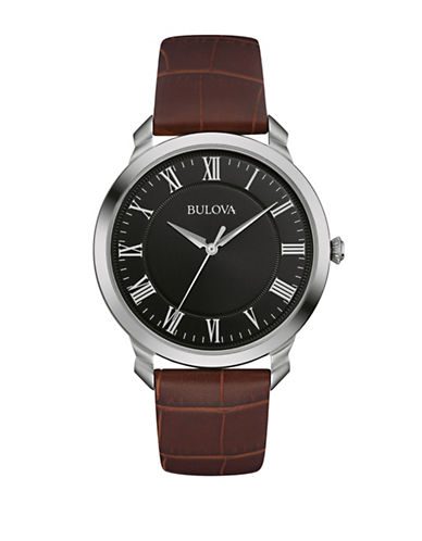 Bulova Analog Classic Collection Black Dial Watch-BLACK-One Size