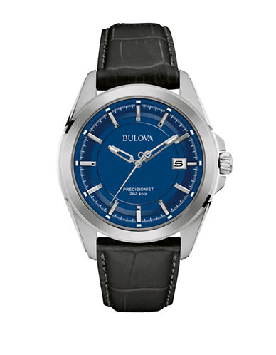 Bulova Analog Precisionist Collection Embossed Leather Strap Watch-BLACK-One Size