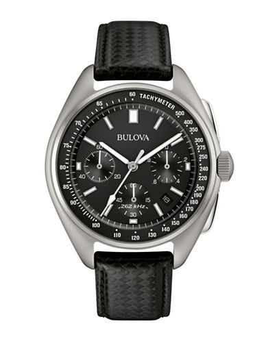 Bulova Chronograph 96B251 Leather Strap Watch-BLACK-One Size