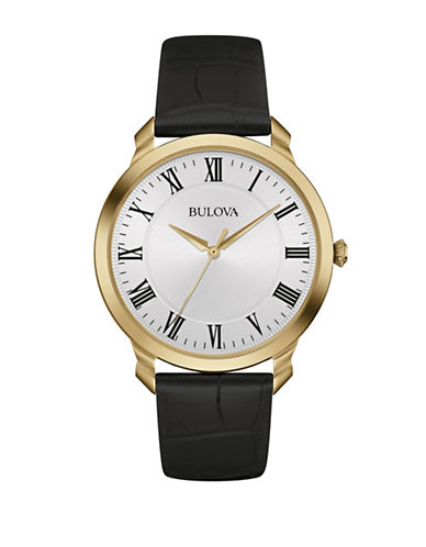 Bulova Analog Classic Collection White Dial Watch-GOLD-One Size