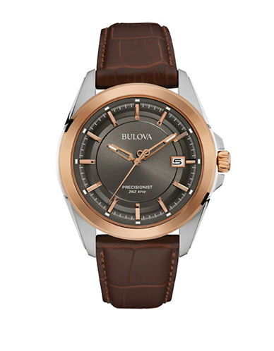 Bulova Analog Precisionist Collection Embossed Leather Strap Watch-BROWN-One Size